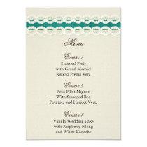 FAUX Burlap and aqua lace wedding menu cards