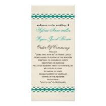 FAUX Burlap and aqua lace Wedding program