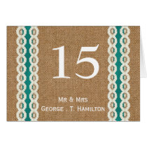 FAUX Burlap and aqua lace wedding table numbers Card
