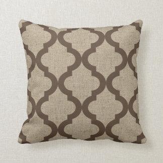Faux Burlap and Chocolate Moroccan Quatrefoil Pillow
