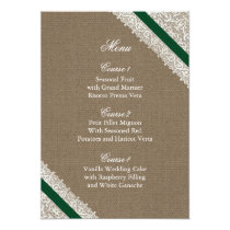 FAUX Burlap and emerald green lace menu cards