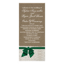 FAUX Burlap and emerald green lace Wedding program