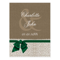FAUX burlap and lace ,emerald green ribbon RSVP Postcard