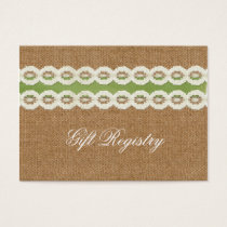 FAUX burlap and lace lime country wedding Business Card