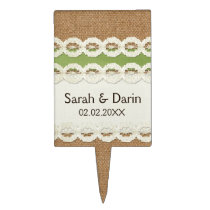 FAUX burlap and lace lime country wedding Cake Topper