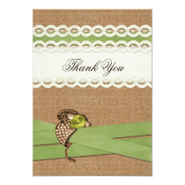 FAUX burlap and lace lime country wedding Card