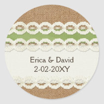 FAUX burlap and lace lime country wedding Classic Round Sticker