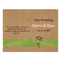 FAUX burlap and lace lime country wedding Flyer