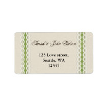 FAUX burlap and lace lime country wedding Label