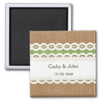 FAUX burlap and lace lime country wedding Magnet