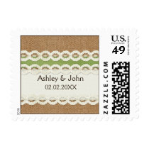 FAUX burlap and lace lime country wedding Postage