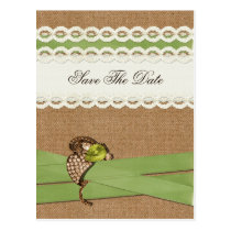 FAUX burlap and lace lime country wedding Postcard