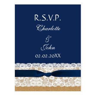 FAUX burlap and lace ,navy blue ribbon RSVP Postcard