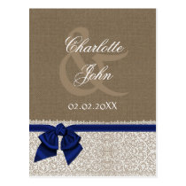 FAUX burlap and lace ,navy blue ribbon RSVP Postcard