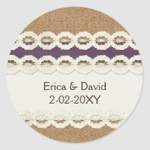 FAUX burlap and lace purple country wedding Classic Round Sticker