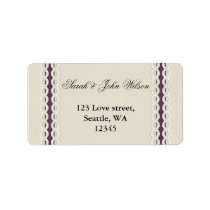 FAUX burlap and lace purple country wedding Label