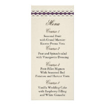 FAUX burlap and lace purple country wedding Rack Card