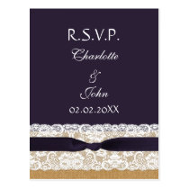 FAUX burlap and lace ,purple ribbon RSVP Postcard