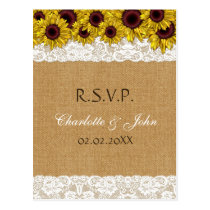 FAUX burlap and lace , sunflowers RSVP Postcard