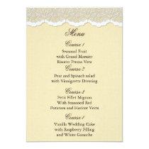 FAUX Burlap and lace wedding menu cards