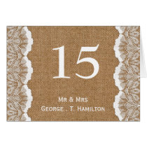 FAUX Burlap and lace wedding table numbers Card