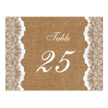 FAUX Burlap and lace wedding table numbers Postcard