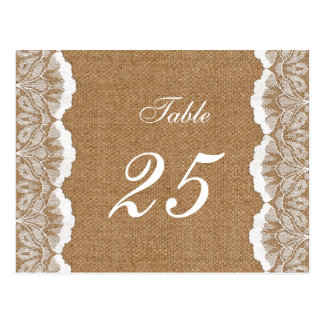 FAUX Burlap and lace wedding table numbers Postcards