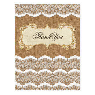 FAUX burlap and lace wedding thank you Postcard