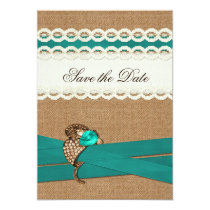 FAUX burlap and lace with aqua save the dates Card
