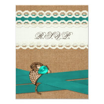 FAUX burlap and lace with aqua wedding rsvp Card