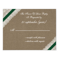 FAUX burlap and lace with emerald green rsvp Card