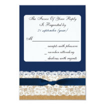 FAUX burlap and lace with navy blue rsvp 3.5 x 5 Card