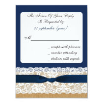 FAUX burlap and lace with navy blue rsvp Card