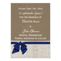 FAUX burlap and lace with navy blue save the dates Card