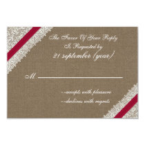FAUX burlap and lace with pink rsvp 3.5 x 5 Card