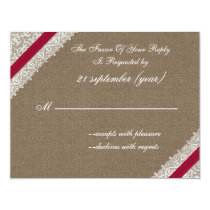 FAUX burlap and lace with pink rsvp Card