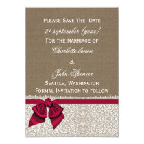 FAUX burlap and lace with pink save the dates Card