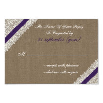 FAUX burlap and lace with purple rsvp 3.5 x 5 Card