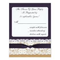 FAUX burlap and lace with purple rsvp Card