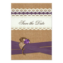 FAUX burlap and lace with purple save the dates Card