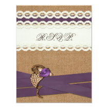 FAUX burlap and lace with purple wedding rsvp Card