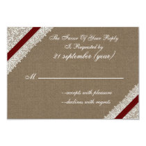 FAUX burlap and lace with red rsvp 3.5 x 5 Card