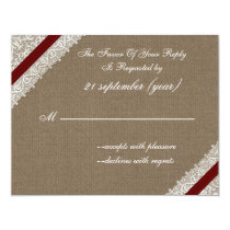 FAUX burlap and lace with red rsvp Card