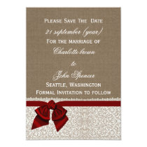 FAUX burlap and lace with red save the dates Card