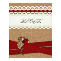 FAUX burlap and lace with red wedding rsvp Card