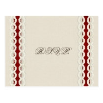 FAUX burlap and lace with red wedding rsvp Postcard