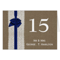 FAUX Burlap and n.blue lace wedding table numbers Card