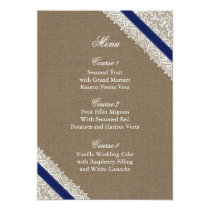 FAUX Burlap and navy blue lace menu cards