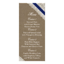 FAUX Burlap and navy blue lace wedding menu cards