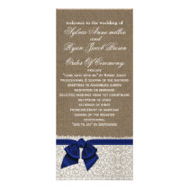 FAUX Burlap and navy blue lace Wedding program